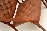 Pair of Scandinavian Bentwood & Leather Vintage Armchairs (11 of 14)