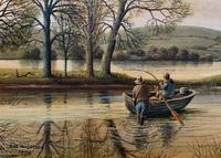 Fishing The River Ouse - Lovely Vintage North Yorkshire Riverscape Oil Painting (6 of 12)