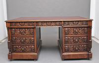 19th Century Carved Oak Partners Desk (2 of 17)