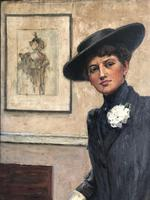Original oil on canvas 'Mrs Enthoven' by Ethel Wright 1866-1939. Exhibited at the Royal Academy 1911. No. 498 (8 of 8)