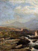 Original 19th Century Period Antique Scottish Highland Bridge Landscape Oil Painting (8 of 11)