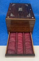 William IV Rosewood Jewellery Box Inlaid with Beautiful Mother of Pearl (8 of 14)