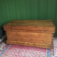 Antique Victorian Pine Chest Rustic Industrial Wooden Trunk + Key + Original Interior (12 of 12)