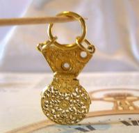 Georgian Pocket Watch Chain Fob 1830s Antique Brass Verge Balance Cock Fob (7 of 10)