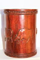 Superb & Finely Carved Chinese Hardwood Brush Pot (5 of 8)