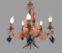 Vintage French 5 Arm Toleware Ceiling Light Chandelier with Grapes (3 of 7)