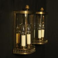 French Pair of Brass Antique Half Wall lanterns (3 of 10)