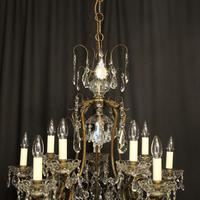 French Gilded Birdcage 11 Light Crystal Antique Chandelier (6 of 10)