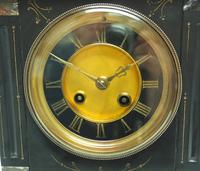 Antique French Slate & Marble Mantel Clock 8 Day Striking Mantle Clock (7 of 10)