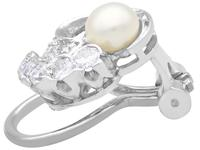 Cultured Pearl, 0.92ct Diamond, Platinum & 18ct White Gold Clip on Earrings - Vintage c.1950 (4 of 9)