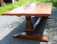 1960's Oak Dining Suite with Refectory Table & Set 10 Chairs - 8+2 Carvers (9 of 9)