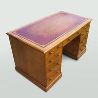 Oak Knee-Hole Pedestal Desk (4 of 7)