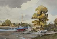 Superb Quality 20th Century Vintage Boats Estuary Seascape Watercolour Painting (2 of 11)
