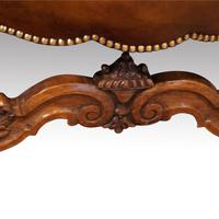 Antique Carved Walnut Leather Wing-back Chair (6 of 12)