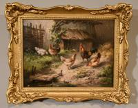 """Oil Painting by Louis Marie Lemaire """"Chickens in a Farmyard"""" (2 of 9)"""
