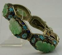 Superb Chinese Solid Silver Gilt Enamel & Jade Bracelet c.1920 Antique (6 of 12)