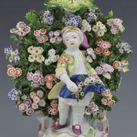 Derby Porcelain Pair Bocage Candlestick Figures Children Gardeners c.1770 (9 of 12)