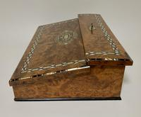 Antique Amboyna Mother of Pearl Inlaid Writing Slope Lap Box (14 of 19)