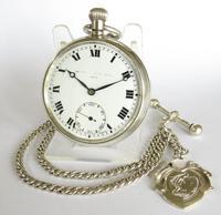 Antique Silver Record Dreadnought Trenton Pocket Watch & Chain