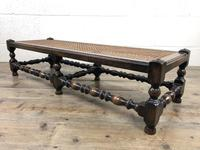 Early 20th Century Turned Oak Footstool with Cane Top (4 of 12)