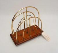 Victorian William Tonks Brass & Oak Desk Top Magazine or Letter Rack (10 of 11)