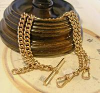 Victorian Pocket Watch Chain 1890s Antique 12ct Rose Rolled Gold Albert & T Bar (2 of 10)