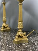 Pair of Regency style gilt bronze lamps with shades (2 of 6)