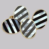 Vintage Asprey Cufflinks. 18ct Gold Mother of Pearl & Black Onyx Art Deco Style CuffLinks