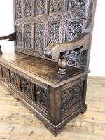 Antique Victorian Carved Oak High Back Settle (14 of 15)