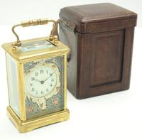 Superb French 8 Day Champleve Carriage Clock Cylinder Platform, Working c.1900 (5 of 12)