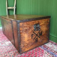 Antique Victorian Bound Campaign Chest Old Rustic Pine Wooden Storage Trunk + Full Zinc Interior + Key (6 of 10)