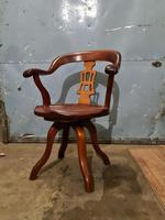 Antique Chinese Cherry Wood Swivel Captains Desk Chair (2 of 10)