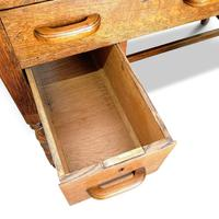 Lovely Little Vintage Desk with Green Leather Top & Drawers c.1970 (5 of 8)