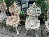 Set of Four Cast-iron Garden Chairs c.1900 (4 of 6)