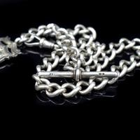 Antique Edwardian Albert Watch Chain with Dog Clip, T-Bar and Medal (6 of 10)
