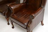 Pair of  Antique  Leather Wing Back Armchairs (8 of 11)