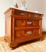 Burr Walnut Chest of Drawers / French Antique Style Commode with Marble (6 of 7)