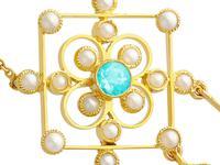 1.15ct Aquamarine & Seed Pearl, 15ct Yellow Gold Pendant - Antique c.1910 (7 of 12)