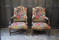 Pair of French Regence Carved Walnut Library Fauteuils (4 of 9)
