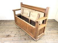 Pitch Pine and Oak Settle Bench with Storage (M-1522) (9 of 10)