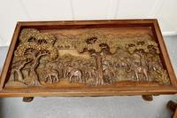 Indian Teak Coffee Table & Side Table Set Carved with Elephants (2 of 11)