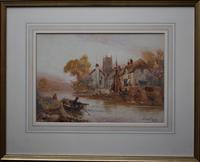 Walter Stuart LLOYD Fishing Village c1900 Watercolour (2 of 5)