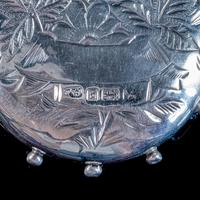 Antique Victorian Forget Me Not Locket Collar Necklace Sterling Silver Dated 1882 (3 of 9)