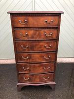 Antique Slim Mahogany Serpentine Chest of Drawers (3 of 8)