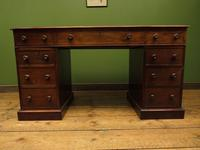 Antique Pedestal Partners Desk with Red Leather top and dummy drawers (4 of 13)