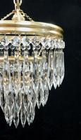 Italian Art Deco Three Tier Crystal Glass Chandelier, 1930s (4 of 6)