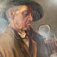 Antique Dutch Oil Painting Portrait of a man drinking ale (9 of 10)