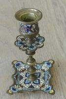 Good Pair of 19th Century French Enamel Champlevé Brass Candlesticks (2 of 6)