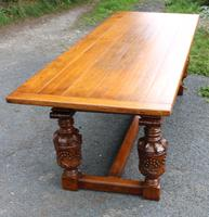 1960s Carved Oak Refectory Table with Set 8 Dining Chairs Green Upholstery (2 of 10)