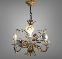 Pair of Vintage French 3 Arm Gilt Toleware Ceiling Light Chandeliers (2 of 10)